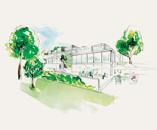 Façade water colour illustration of Pavilions Blackburn Lake
