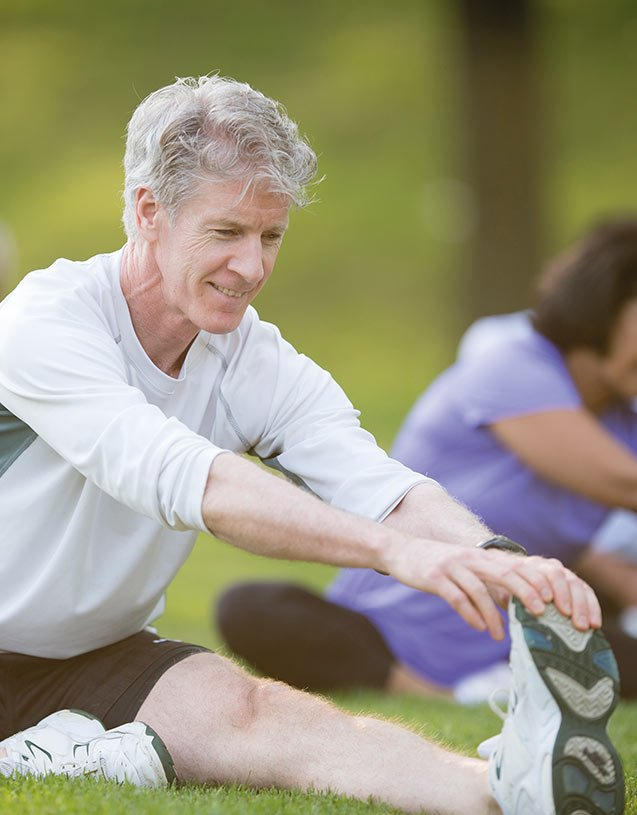 Senior man, exercising. Stay fit and active at Pavilions Blackburn Lake