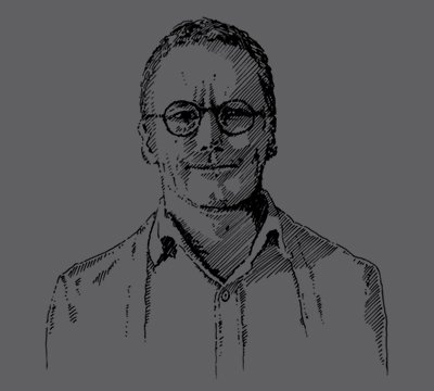 illustration of designer, Paul Hecker