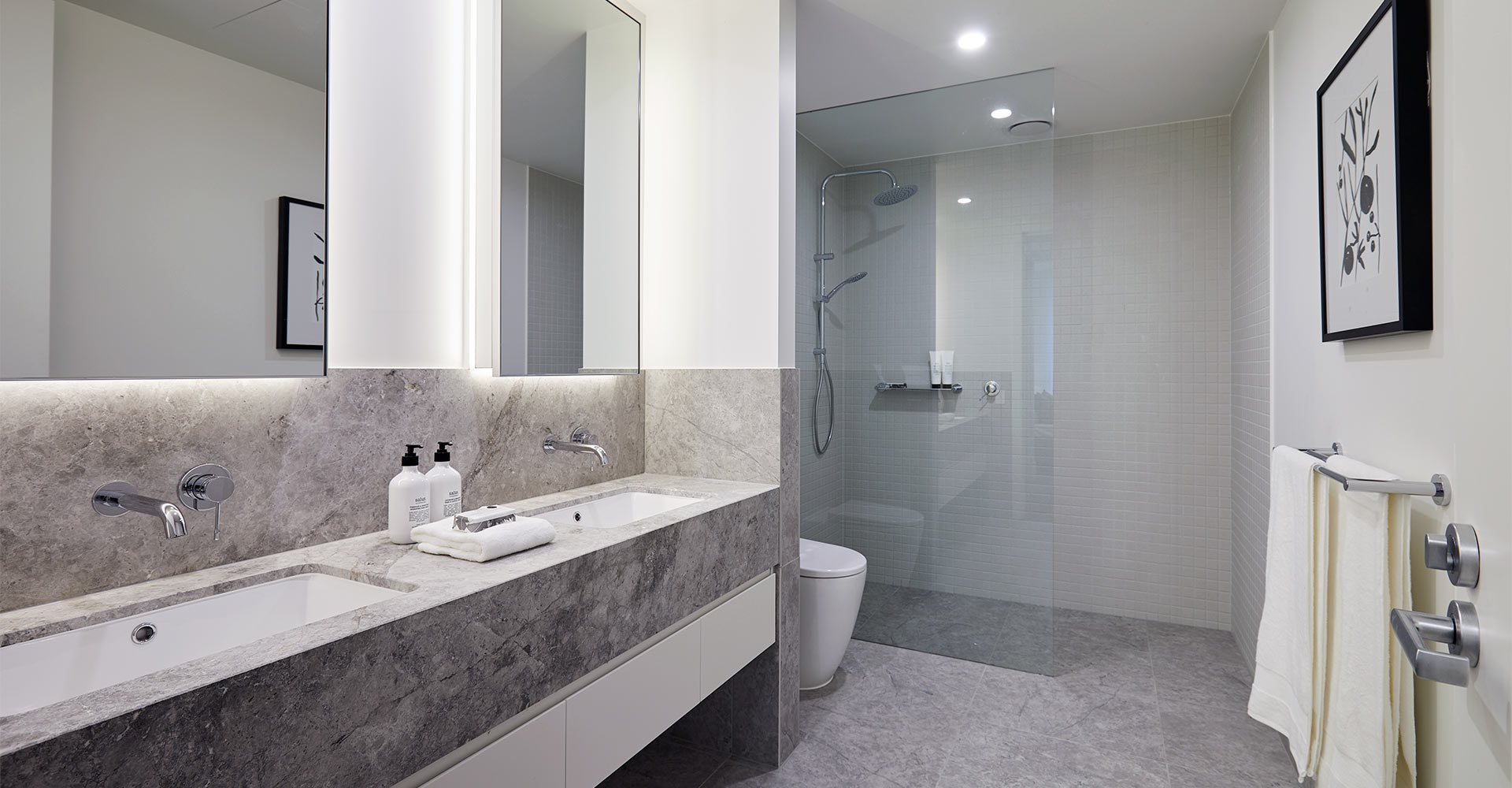 Retirement apartment bathroom with premium finishes at Pavilions Blackburn Lake