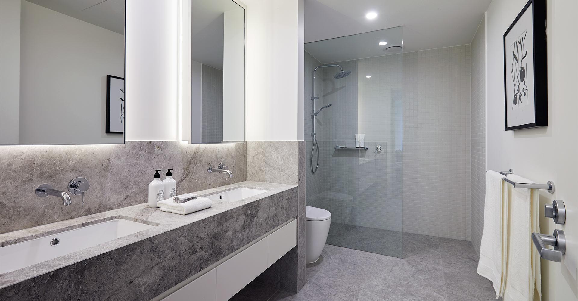 Retirement apartment bathroom with premium finishes at Pavilions Blackburn Lake