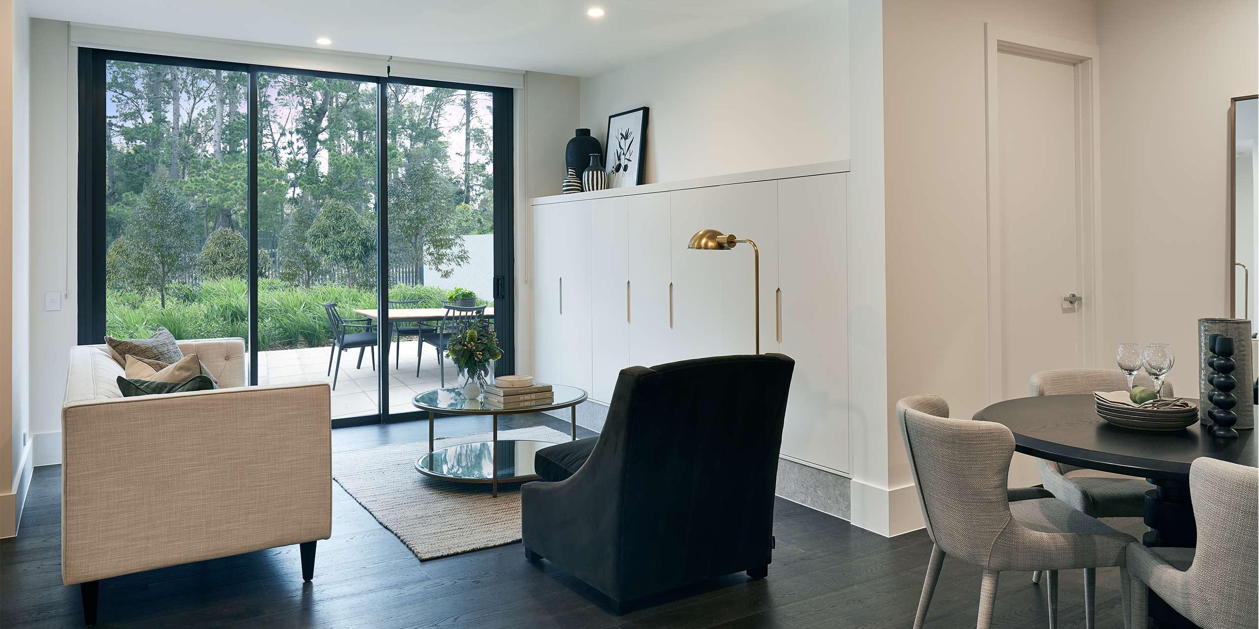 Retirement apartment living room at Pavilions Blackburn Lake
