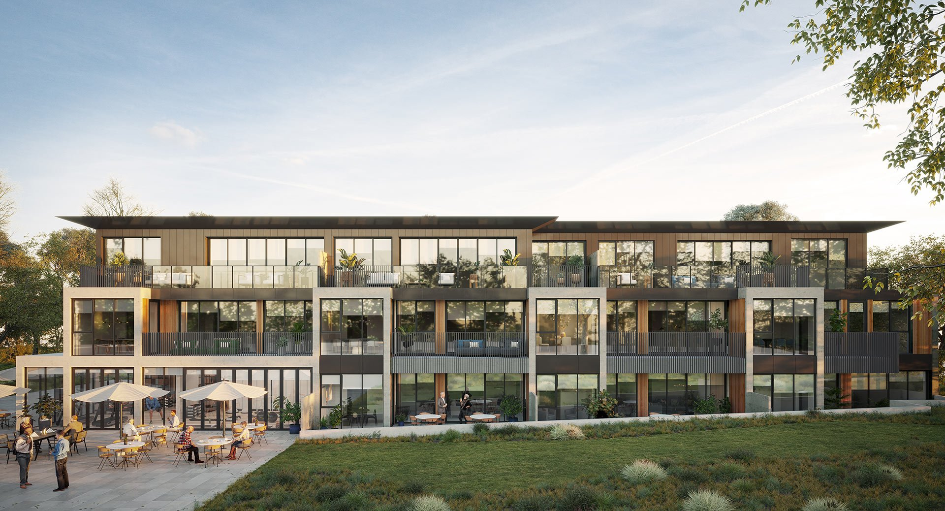 Stage two façade of Pavilions Blackburn Lake retirement apartments. Now selling.