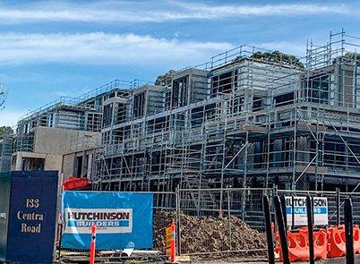 Construction site at Pavilions Blackburn Lake